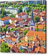Old Ljubljana Cityscape Aerial View Canvas Print