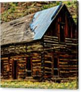Old Log Cabin-barn Canvas Print