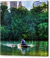 Old Love And Central Park Lake Canvas Print
