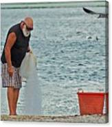 Old Man And The Net Canvas Print