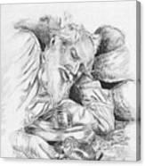 Old Man Feeding Chipmunk Canvas Print