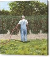 Old Man In Garden Canvas Print