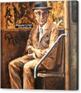 Old Man In Subway Canvas Print