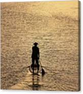 Old Man Paddling Into The Sunset Canvas Print