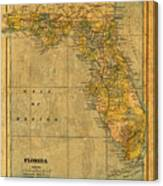 Old Map Of Florida Vintage Circa 1893 On Worn Distressed Parchment Canvas Print