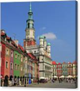 Old Marketplace And The Town Hall Poznan Poland Canvas Print