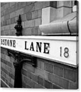 old metal victorian sign for warstone lane jewellery quarter Birmingham UK Canvas Print