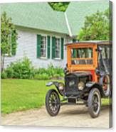 Old Model T Ford In Front Of House Canvas Print