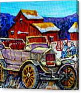 Old Model T Car Red Barns Canadian Winter Landscapes Outdoor Hockey Rink Paintings Carole Spandau Canvas Print