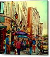 Old Montreal Cafes Canvas Print