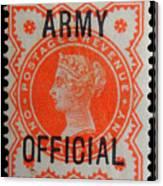 Old Orange Halfpenny Stamp  Canvas Print