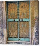 Old Ornate Wrought Iron Door In Venice, Italy  Canvas Print