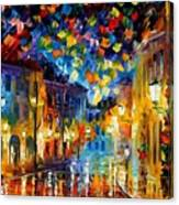 Old Part Of Town - Palette Knife Oil Painting On Canvas By Leonid Afremov Canvas Print