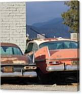 Old Plymouths With Mountain View  Canvas Print