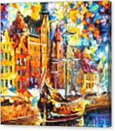Old Port - Palette Knife Oil Painting On Canvas By Leonid Afremov Canvas Print