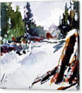 Old Posts In Snow Canvas Print