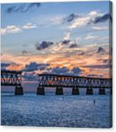 Old Rail Bridge At Florida Keys Canvas Print