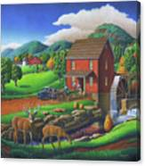 Old Red Appalachian Grist Mill Rural Landscape - Square Format  Canvas Print