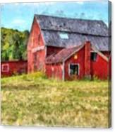Old Red Barn Abandoned Farm Vermont Canvas Print