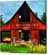 Old Red Barn And Wild Sunflowers Canvas Print