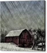 Old Red Barn In Winter Canvas Print