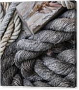 Old Ropes On Dock Canvas Print