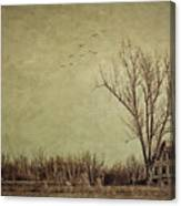 Old Rural Farmhouse With Grunge Feeling Canvas Print