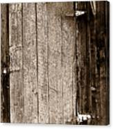 Old Rustic Black And White Barn Woord Door Canvas Print