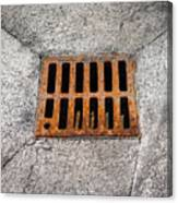 Old Rusty Street Grate Near The Sea In Cres Canvas Print