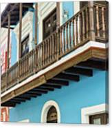 Old San Juan Houses In Historic Street In Puerto Rico Canvas Print