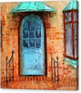 Old Service Station With Blue Door Canvas Print