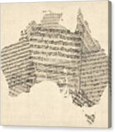 Old Sheet Music Map Of Australia Map Canvas Print