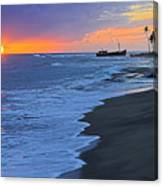 Old Shipwreck At Sunset - St Lucia Canvas Print