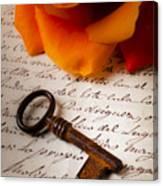 Old Skeleton Key On Letter Canvas Print