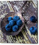 Old Spoon And Blueberries Canvas Print