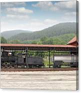 Old Steam Locomotive On Railway Station Canvas Print