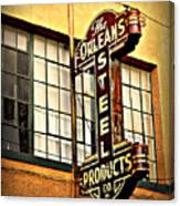 Old Steel Neon Sign Canvas Print