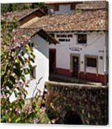 Old Stone Bridge In Historic Hillside Village Of San Sebastian D Canvas Print