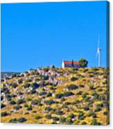 Old Stone Church And Green Energy Plant Canvas Print