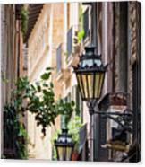 Old Street Light In Barcelona, Spain Canvas Print