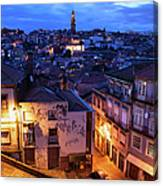 Old Town Of Porto In Portugal At Dusk Canvas Print