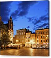 Old Town Square By Night In Torun Canvas Print