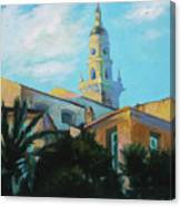 Old Town Tower In Menton Canvas Print