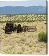 Old Tractor And Rake In New Mexico Canvas Print