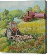 Old Tractor In Hungary Galgaguta Canvas Print