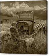 Old Truck Abandoned In The Grass In Sepia Tone Canvas Print