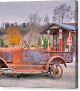 Old Truck And Gas Filling Station Canvas Print
