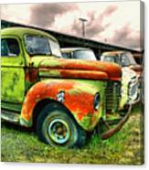 Old Trucks In A Row Canvas Print