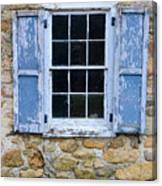 Old Village Window With Blue Shutters Canvas Print