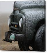 Old Vintage Truck In Winter Storm Saskatchewan Canvas Print